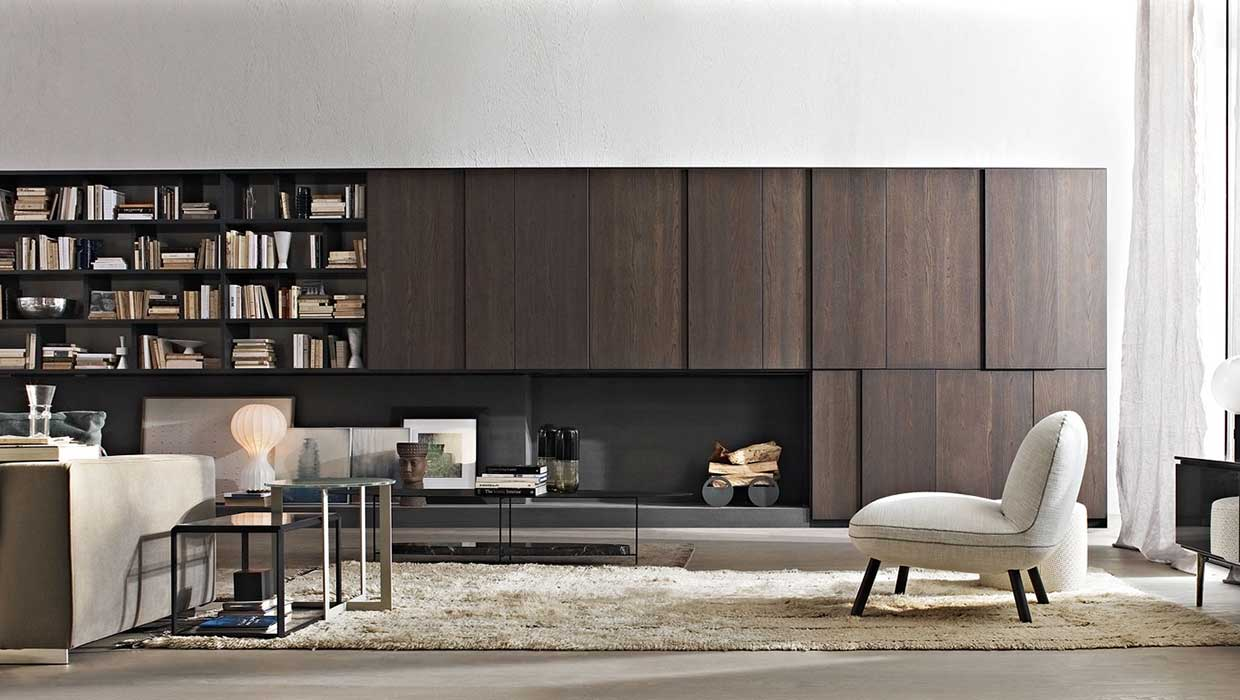 Molteni 505 wall system with shelves and doors